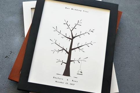 切り絵風のウェディングツリー