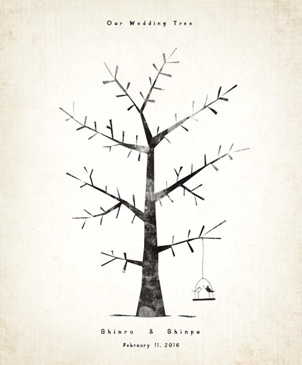 切り絵風のウェディングツリーのイラスト