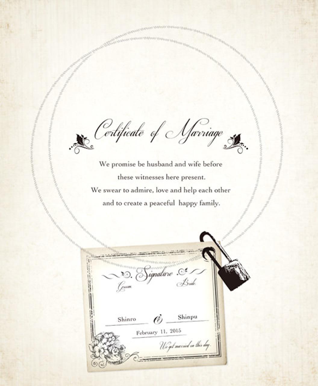 結婚誓約書・ウェディングキー